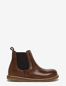 Booties - flat - with zipper - støvler - 2509/002 medium brown/medium b