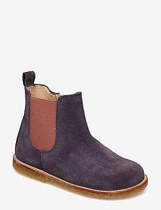 Booties - flat - with zipper - 2203/022 DARK PURPLE/ROSE