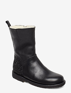 Boots - flat - with zipper - støvler - 1933/2486 black/black glitter
