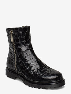 Boots - flat - with zipper - støvler - 1674 black croco