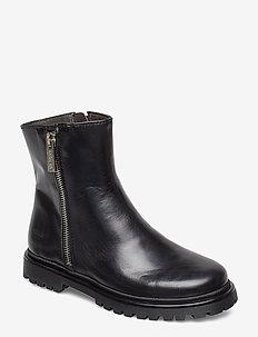 Boots - flat - with zipper - 1835 BLACK