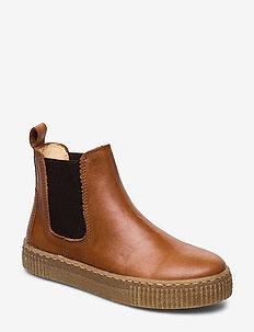 Booties - flat - with elastic - kozaki - 1838/002 cognac/dark brown