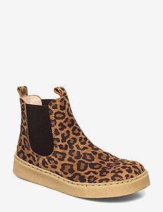 Booties - flat - with elastic - laarzen - 2164/002 leo/brown