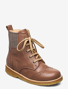 Boots - flat - with lace and zip - kozaki - 1845/047 mocha/check