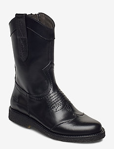 Boots - flat - with zipper - kozaki - 1835 black
