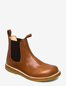 Booties - flat - with elastic - 1838/002 COGNAC/DARK BROWN