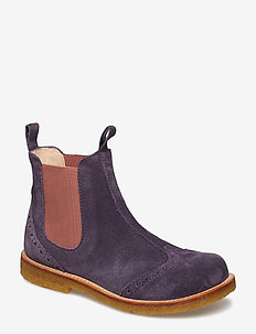 Booties - flat - with elastic - 2203/022 DARK PURPLE/ROSE