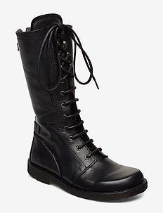 Long boot with laces. - long boots - 1604 black
