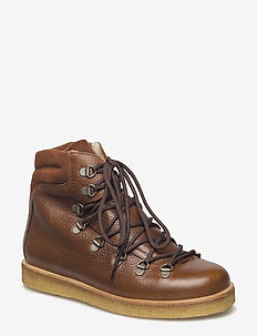 Boots - flat - with laces - flate ankelstøvletter - 2509/1166 medium brown/cognac