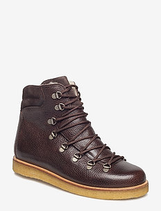 Boots - flat - with laces - flate ankelstøvletter - 2505/2193 d.brown/d.brown