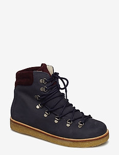Boots - flat - with laces - flade ankelstøvler - 2630/2195 navy/bordeaux