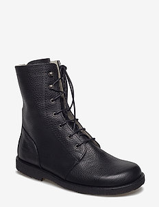 Boots - flat - with laces - flat ankle boots - 2504 black