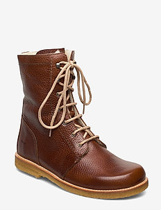 Boots - flat - with laces - talon bas - 2509 cognac