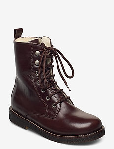 Boots - flat - with lace and zip - støvler - 1836 dark brown