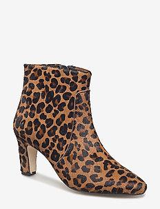 Bootie - block heel - with zippe - 1110 LEOPARD PONY