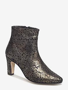 Bootie - block heel - with zippe - 2190 GOLD FLOWER