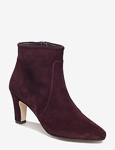 Bootie - block heel - with zippe - 2195 BORDEAUX