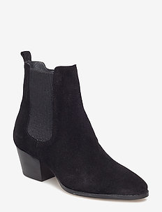 Booties - Block heel - with elas - ankelstøvler med hæl - 1163/019 black/black