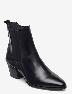 Booties - Block heel - with elas - heeled ankle boots - 1835/019 sort/sort