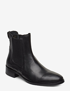 Booties - flat - with elastic - chelsea boots - 1604/019 black/black