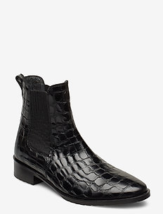 Booties - flat - with elastic - støvler - 1674/019 black croco/ black
