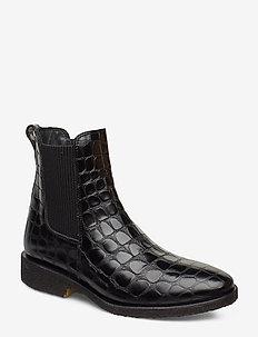 Booties - flat - with elastic - 1674/019 BLACK CROCO/ BLACK