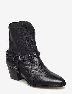 Bootie - block heel - with zippe - 1933 BLACK