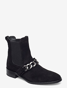Booties - flat - with elastic - flat ankle boots - 1163/019 black/black