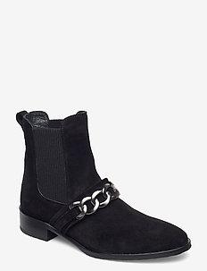 Booties - flat - with elastic - platte enkellaarsjes - 1163/019 black/black