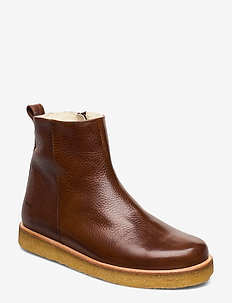 Boots - flat - with laces - flat ankle boots - 2509 cognac
