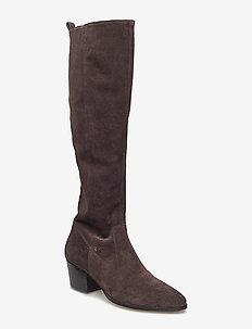 Bootie - block heel - with zippe - 2193 DARK BROWN