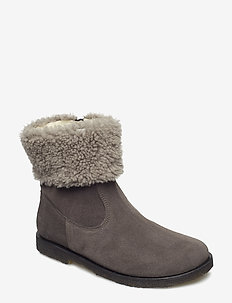 Booties - flat - with elastic - 2192/2021 TAUPE/GREY LAMBWOOL
