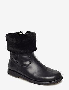 Booties - flat - with elastic - 1604/2014 BLACK/BLACK LAMB WOO