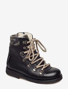 Boots - flat - with velcro - vinterstøvler - 2504/2175/1604 black/army prin