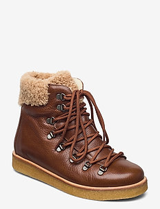 Boots - flat - with laces - flate ankelstøvletter - 2509/2030 cognac/light brown