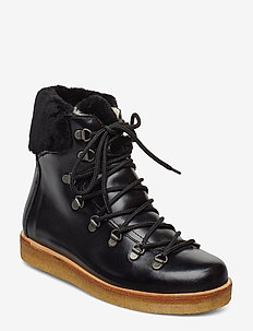 Boots - flat - with laces - flat ankle boots - 1835/2014 black/black lambswoo