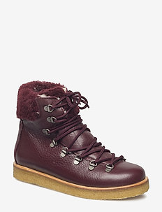 Boots - flat - with laces - flat ankle boots - 2544/2018 bordeaux/b. lamb woo