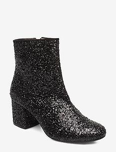 Bootie - block heel - with zippe - korolliset nilkkurit - 2486/1163 black glit/black
