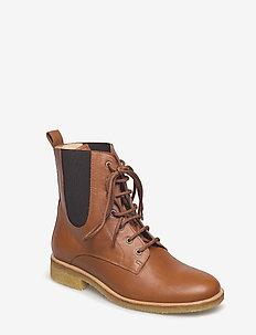 Booties - flat - with elastic - 1431/002 COGNAC/BROWN