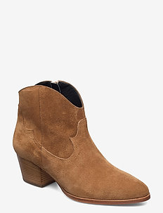Booties - Block heel - with elas - ankelstøvler med hæl - 1168 tan