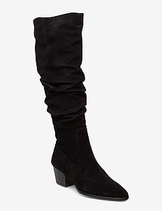 Bootie - block heel - with zippe - long boots - 1163 black