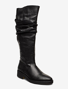 Booties - flat - with zipper - long boots - 1604 black