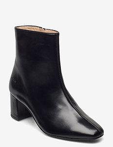Bootie - block heel - with zippe - heeled ankle boots - 1835 black