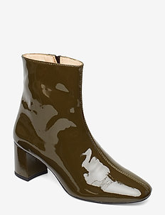 Bootie - block heel - with zippe - 2345 OLIVE
