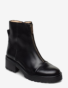 Booties - flat - with zipper - 1835 BLACK