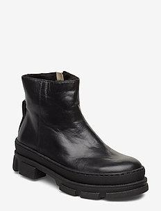Booties - flat - with zipper - 1604/2014 BLACK/BLACK LAMB WOO