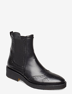Booties - flat - with elastic - bottes chelsea - 1835/001 black/black