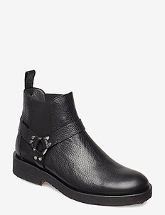 Booties - flat - with elastic - flat ankle boots - 2504/001 black/black