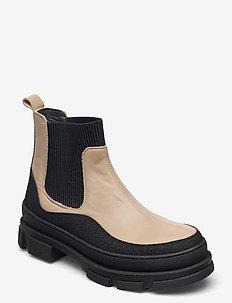 Boots - flat - platte enkellaarsjes - 1321/1571/019 black/beige/blac