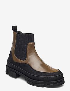 Boots - flat - flade ankelstøvler - 1321/1841/019  black/d. oliven